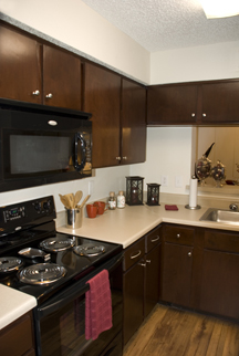 Professional, contemporary remodeling update to apartment development's kitchens and bathrooms