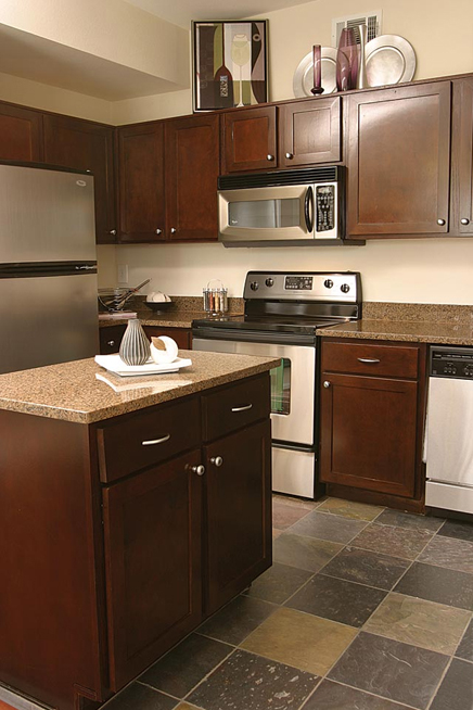Countertops Feature Solid Granite For Work Areas And Island. Cabinets  Feature Concealed Hinge Doors Of
